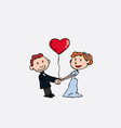 newlyweds are holding hands whit a heart balloon vector image