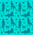 retro woman with cat fashion seamless pattern vector image
