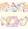 seamless pattern of items for sewing and crafts vector image