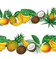 Seamless pattern with tropical fruits and leaves vector image