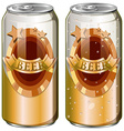 Two cans of beer vector image