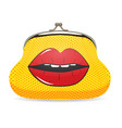 Female Wallet in Pop Art Style with Dots and Lips vector image