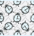 seamless pattern alarm clock vector image
