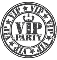 Grunge vip party rubber stamp vector image