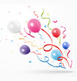 colorful party confetti with balloon on white back vector image