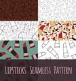 Set seamless pattern liptick vector image