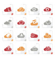 stylized cloud services and objects icons vector image