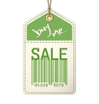 Vintage sale tag with stitches vector image
