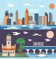 san diego landmarks horizontal flat design banners vector image