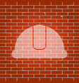 hardhat sign  whitish icon on brick wall vector image