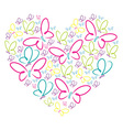 Hand drawn butterflies in a heart shape in format vector image
