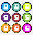 Book icon sign Nine multi-colored round buttons vector image