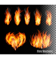 Collection of fire - flames and a heart shape vector image vector image