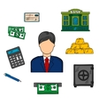 Banker profession and financial icons vector image