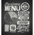 Restaurant menu typographic design on chalkboard vector image