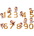 Number one to ten with monkeys vector image
