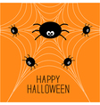 Cute cartoon spider family on the web Halloween vector image
