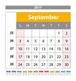 Desk Calendar for 2017 Year September Design Print vector image