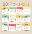 pastel color calendar for 2017 template design vector image