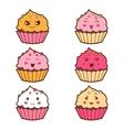 Set of kawaii cupcakess with different facial vector image