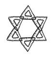 star david jewish sign hand draw doodle vector image