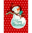 Christmas snowman with gift bag for card design vector image vector image