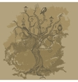 Grungy paper background with tree vector image
