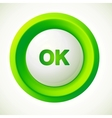 Green plastic ok button vector image vector image