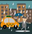 People walking in the rain vector image