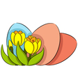 Easter eggs and crocus vector image