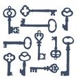 Hand drawn vintage keys collection vector image vector image