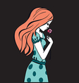 Beautiful romantic girl holds a Rose vector image