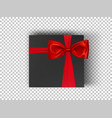 black square cardboard box with red ribbon and bow vector image