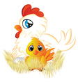 Cartoon Hen and Chicken vector image