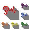 ear hearing sound sign set of red orange yellow vector image