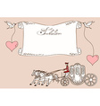 Invitation or card with horse carriage vector image