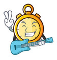 with guitar chronometer character cartoon style vector image