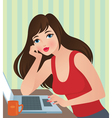 Girl with laptop vector image