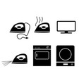 electric stove iron incubators and tv icons vector image