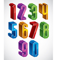 3d geometric numbers set in blue and green colors vector image