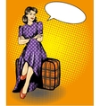 Beautiful woman sit on a bag vector image