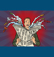 newspaper bad news about nuclear war the man vector image