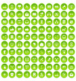 100 communication icons set green vector image