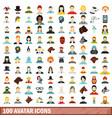 100 avatar icons set flat style vector image