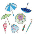 colorful umbrellas collection vector image