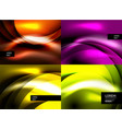 set of shiny silk wave abstract backgrounds vector image vector image