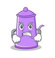 angry purple teapot character cartoon vector image