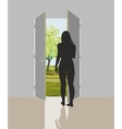 Woman in open door vector image vector image