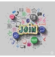 Join sign and collage with web icons background vector image