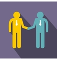 Two men shaking hands icon flat style vector image